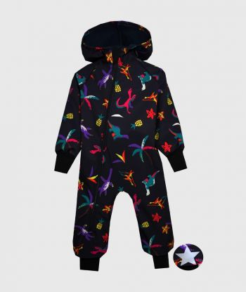 Waterproof Softshell Overall Comfy Dino Sketch Jumpsuit