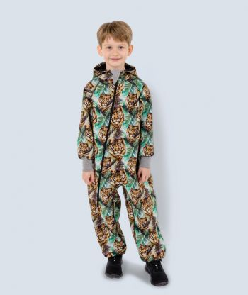 Waterproof Softshell Overall Comfy Tiger Jumpsuit