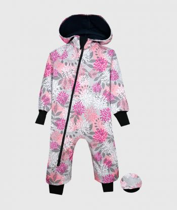Waterproof Softshell Overall Comfy Flowers Grey Jumpsuit