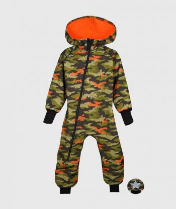 Waterproof Softshell Overall Comfy Green And Orange Camouflage Jumpsuit